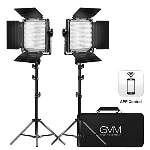 GVM 2 Pack LED Video Lighting Kits with APP Control, Bi-Color Variable...