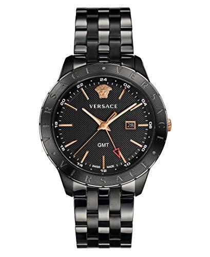 41dExO0L 3L Date a 3 O'clock Mark Versace logo engraved on the top ring Quartz Movement