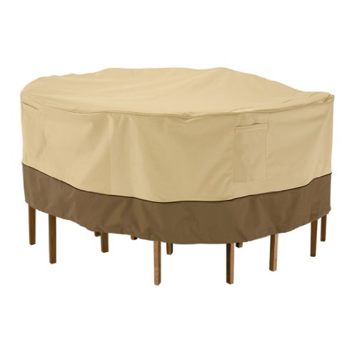 Classic Accessories 78942 Veranda Round Patio Table & Chair Set Cover, Large, Pebble