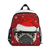 Mochila para niños y niñas Mini Mochila Bolsa de Viaje con Clip para el Pecho Perro de Navidad con Sombrero