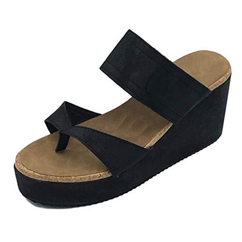 Minetom Sandalias Mujer Cuña Alpargatas Plataforma Bohemias Romanas Flip Flop Mares Playa Gladiador Verano Tacon Planas Zapatos Zapatillas Negro Beige 35-43 Negro EU 40