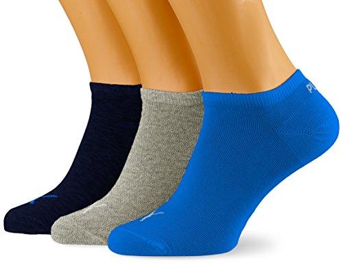 PUMA Sneaker Plain 3p Calze Sportive, Blu/Grigio Melange, 39/42 (Pacco da 3) Unisex Adulto