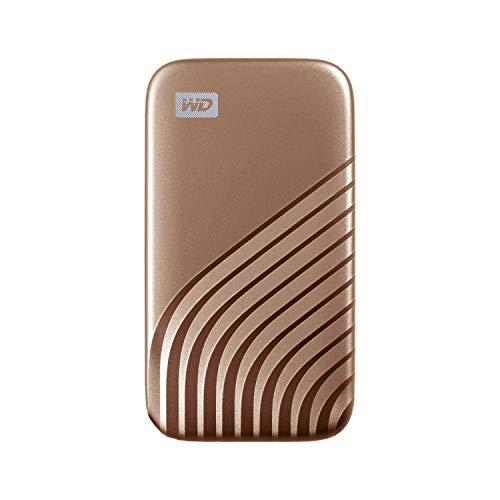 WD My Passport SSD 500GB - tecnología NVMe, USB-C, velocidad de lectura hasta 1050MB/s & de escritura hasta 1000MB/s - Oro