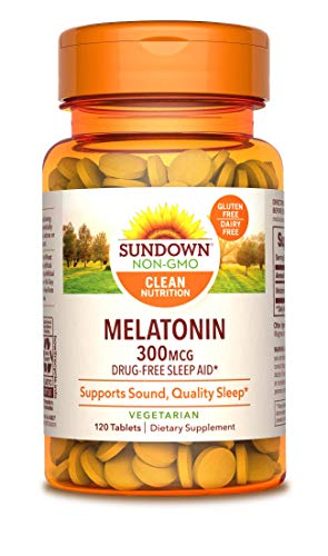 Sundown Melatonin 300 mcg, 120 Tablets (Packaging May Vary) Drug-Free Sleep Aid* Vegetarian, Non-GMO, Free of Gluten, Dairy, Artificial Flavors