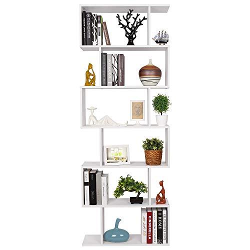 Homfa Bücherregal Regal mit 6 Ebenen, Raumteiler Standregal Büroregal 190.5x70x23.5 cm, weiß