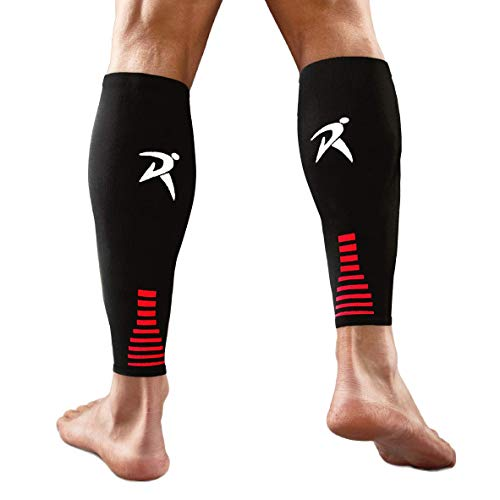 Rymora Calf Compression Sleeves (Ideal for Sports, Running, Shin Splints) (One Pair) (Black) (Medium) [M]