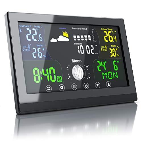 Bearware - Nuova Stazione Meteo con Display a Colori e Sveglia - Nuovo con misurazione della Pressione dell'Aria Locale per previsioni affidabili- Temperatura - Umiditá - Calendario - Sensore Esterno