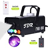 JDR Fog Machine with Controllable lights, DJ LED Smoke Machine(Red,Green,Blue) with Wireless and Wired Remote Control for Thanksgiving Christmas Parties Weddings Christmas Halloween, with Fuse Protec