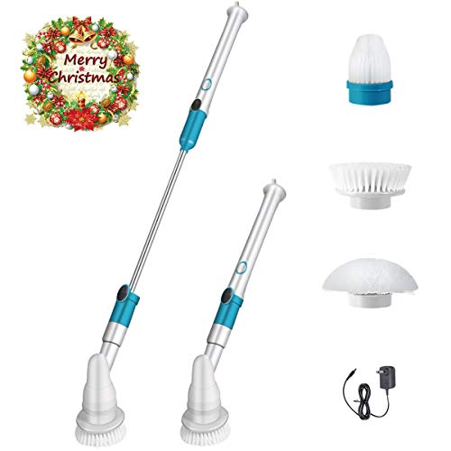Electric Spin Scrubber, 360 Cordless Shower Floor Scrubber, Tub and Tile Multi-Purpose Power Surface Cleaner with 3 Replaceable Brush Heads, 1 Extension Arm