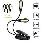 Lampe de Lecture Clipsable 14 LEDs 3 Couleurs 9 Modes Luminosité Réglable, Lampe Clip Veilleuse USB Rechargeable Sans Fil Portable et Flexible pour Travail Voyage Lecture de Nuit