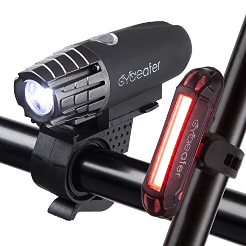 Cycleafer Luci Bicicletta LED Ricaricabili USB, 3 ANNI DI GARANZIA, Luce Bici Anteriore e Posteriore Super Luminoso Luce Bici LED per Bici Strada e Montagna
