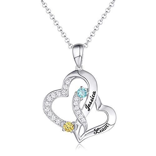 damofy Herzkette mit Gravur Namenskette Silber Wunschname 2 Namen Damen Kette 925 Sterling Silber...