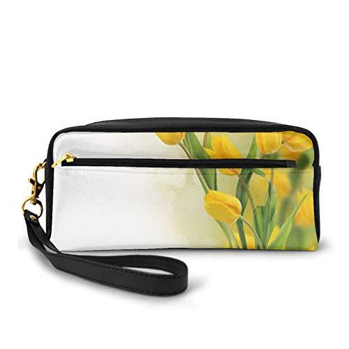 Piccola borsa per il trucco,Romantico bouquet di tulipani famoso tema botanico dei Paesi Bassi,Sacchetto cosmetico da viaggio con cerniera in pelle PU e matita organizzatore