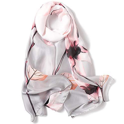 Pañuelos Cuello Mujer Seda de Imitacion Fulares Satén Estolas Regalo 180*90 cm (Gris)