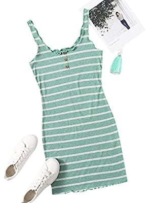 Soft, lightweight, skin-touch and slight stretch material, the dress will give you a comfortable and breezy wearing experience. Features: This women mini dress features high-quality material, button front, ribbed knit, solid color, lettuce trim, scoo...
