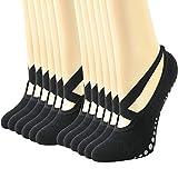 Gmark Grips & Straps Yoga Socks for Home Sports Pilates Barre Fitness Hospital Ballet Dance Barefoot Workout Socks(Heel Ballet Straps 6 Pairs, Black, M)