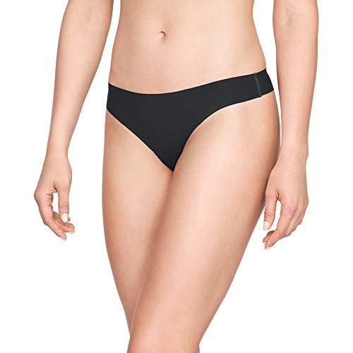 Under Armour Women's Pure Stretch Thong (3 Pack), Black (001)/Black, Medium