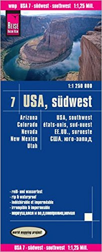 USA7: Suroeste, mapa impermeable de carreteras. Escala 1:1.250.000 impermeable. Reise Know-How. (112
