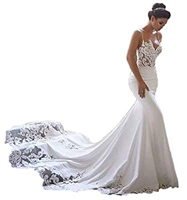 Sexy Spaghetti Strap Wedding Dresses Mermaid Lace Bridal Gown ♥SIZE CHOOSE: Plus size dress 2-24W and custom size are available. (Please check the size detail before you placed the order,we used our own size chart,it is on the left image.)Every dress...