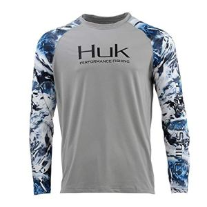 Huk Men's Double Header Vented Long Sleeve Shirt | Premium Fishing Shirt with +30 UPF Sun Protection, Gray, 3X-Large