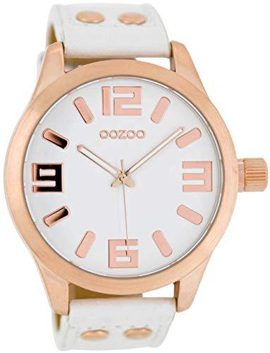 Oozoo Armbanduhr Basic Line mit Lederband 47 MM Rose/Weiß/Weiß C1150