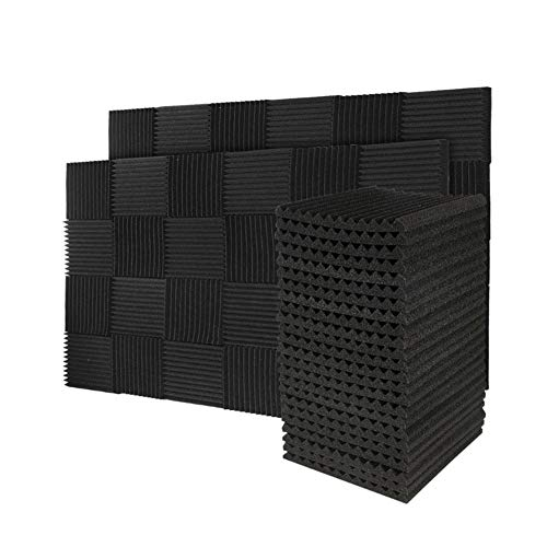 50 Pack Acoustic Panels Soundproof Foam for Walls Sound Absorbing Panels Soundproofing Panels Wedge for Home Studio Ceiling, 1' X 12' X 12', Black (50pcs, Black)