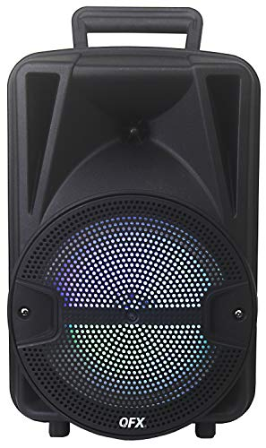 QFX PBX-BF8SM 8' Portable Bluetooth Party Speaker with Tripod Stand and Wireless Microphone
