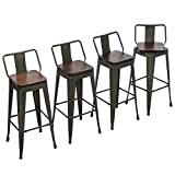 Yongchuang Swivel Bar Stools with Back Counter Height Stools Industrial Metal Stools Set of 4 (Swivel 30', Wood Top Gunmetal)
