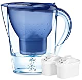 Jucoan 14-Cup Water Filter Pitcher, Alkaline Water Purifier Jug with 2Filters, Filter Change Indicator, Purify and Increase PH Levels for Drinking Water
