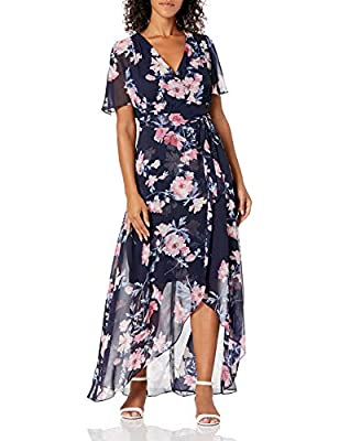 Butterfly Sleeve Maxi Dress Wrap Skirt Tie Sash V-Neck