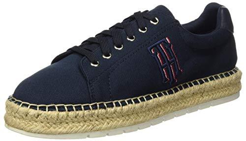 Tommy Hilfiger Nautical TH Lace Up Espadrille, Zapatos de tacón con Punta Abierta Mujer, Azul (Desert Sky Dw5), 41 EU