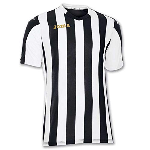 Joma Copa Camiseta de Equipación de Manga Corta, Hombre, Negro/Blanco, M