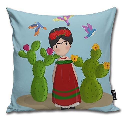 Sotyi-ltd Frida Kahlo - Funda de Almohada Decorativa para cojín de muñeca, Regalo para cumpleaños, Boda, Pareja, Aniversario, graduación, 18 x 18 Pulgadas