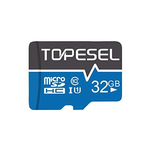 Tarjeta Micro SD 32GB, TOPESEL Tarjeta Memoria Alta Velocidad 85 MB/s SDHC Mini Tarjeta TF para Móvil, Tablet, Cámara, Tarjeta microSD 32GB (Class 10, U1) Azul