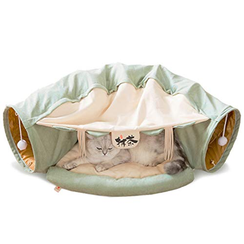 ROSE-CREATE-Cat-Toys-Collapsible-Tunnel-Bed-Cozy-Cave-Round-Cuddle-Snuggery-Burrow-Pet-Litter-House-Bed-Channel-Removable-Cover-for-Indoor-Rabbits-Kittens-and-Dogs-Green