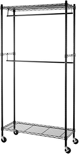 AmazonBasics Double Rod Garment Rack with Wheels -Black