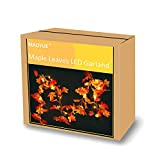 MAOYUE Fall Decorations 2 Pack Lighted Fall Garland 19.6 Ft 60 LED Autumn Leaf Garland, Battery Operated Fall String Lights with Timer for Thanksgiving Decorations, Halloween, Outdoor Autumn Decor