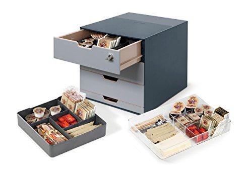 Durable 338558 - Coffee Point Box, Stazione Porta-Capsule e Accessori, 4 Cassetti, 280 x 292 x 356 mm (L x H x P), Carbone