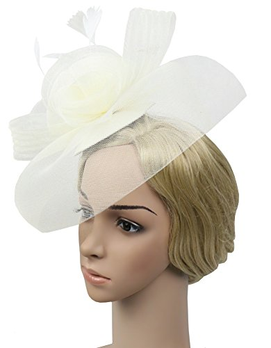 Urban CoCo Women's Elegant Flower Feather and Veil Fascinator Cocktail Party Hair Clip Hat