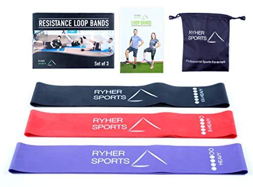 Rhyer Bande Elastiche Resistenza Glutei - Set di 3 Elastici Fitness Extra Forti  Attrezzi Palestra...