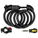Jade Cloud Bike Lock Cable 5 Digit High Security Bike Lock Resettable Combination with Complimentary Mounting Bracket and Free Screwdriver 4.9 Feet