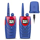 QNIGLO Rechargeable Walkie Talkies for Kids, 22 Channels FRS Walkie Talkies, Long Range Kids Walkie Talkies for Boys/Girls Toys Gifts,Outdoor Activities, Camping, Hiking - 2 Pack