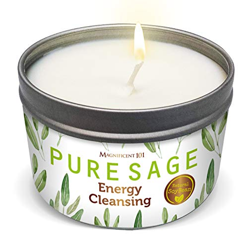 MAGNIFICENT 101 Pure White Sage Smudge Candle for House...