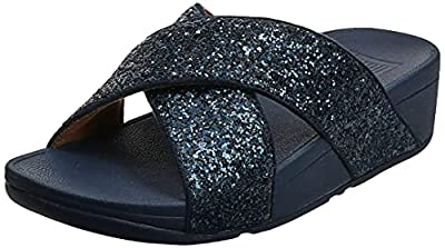These blue womens sliders from fitflop have a average to wide fit