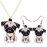 DUOWEI Acrylic Sweet French Bulldog Pug Dog Jewelry Sets Earrings Necklace Pet Animal for Women Girls