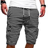 Heflashor Shorts de Sport Homme Bermuda Été Pantalons Courts Respirants Cargo Panta Court Casual Lâche avec Poche Pantalon de Jogging Fitness Gym