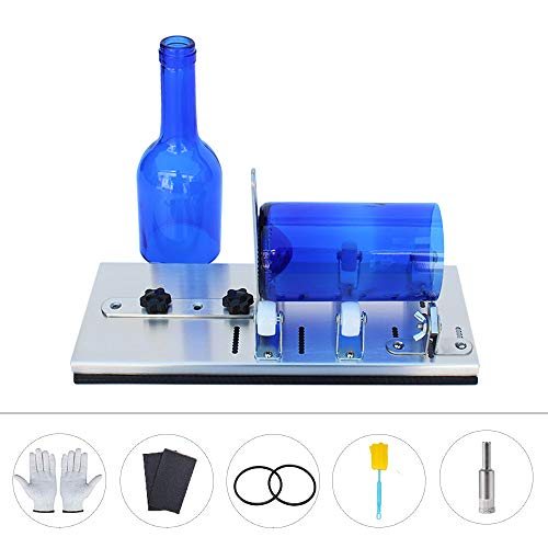 Jung Ford Bottle Cutting Tool for DIY Projects Adjustable Bottle Cutting Tool for Wine, Beer, Whiskey, Champagne, Water Or Soda Bottles with Glass Cutter Tool Kit Gloves Fixing Rubber Ring
