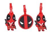Set of 3 - Super Cute Kawaii Cartoon Silicone Travel Luggage ID Tag for Bags (Deadpool)