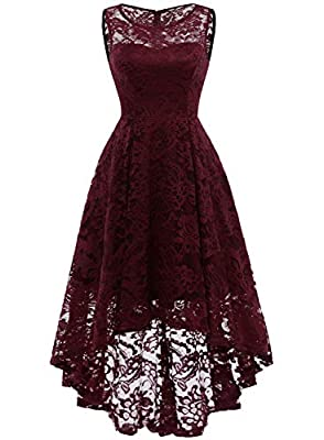 Good quality lace, soft, stretch, light weight and skin-friendly Style: High-Low design, wide straps, lace floral, back zipper Occasion: Wedding Party, Hosting, Bridesmaid Dresses, Cocktail, Causal Wear, Homecoming Our sizes are DIFFERENT from Amazon...