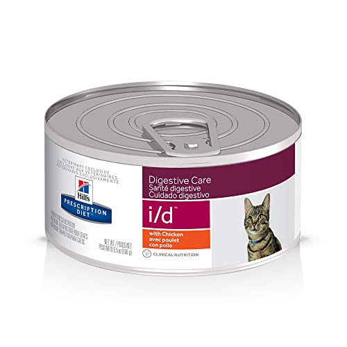 Hill's Prescription Diet i/d Digestive Care with Chicken Canned Cat Food, 5.5 Oz, 24-Pack Wet Food, White